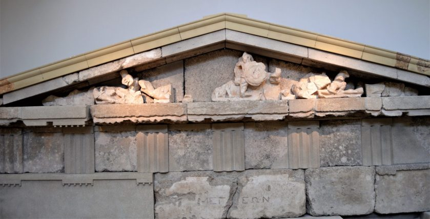 Remnants of the Treasury of the Megarians on display at Olympia Archaeological Museum, Olympia, Greece