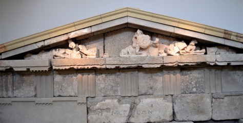 Pediment from the Treasury of the Megarians on display at the Olympia Archaeological Museum