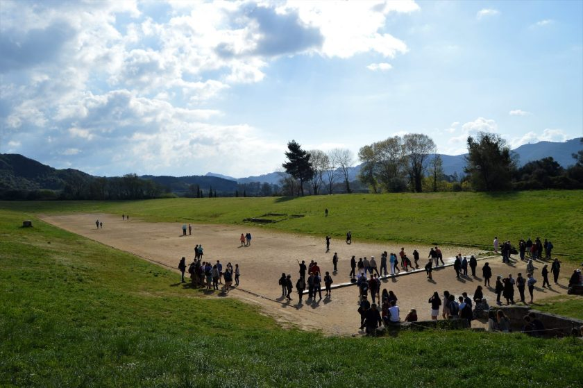 Stadium with the race track where the ancient Olympic Games were held in Olympia, Greece
