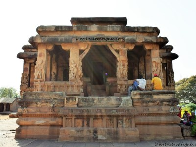 East side view and entrance to the Durga Temple in Aihole, Karnataka, India