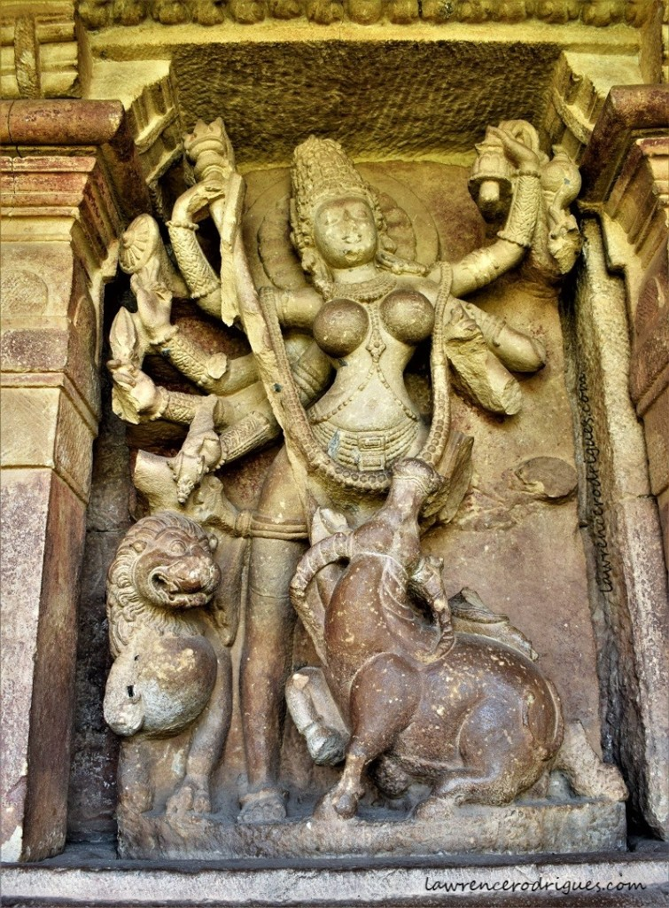 Durga as Mahishasuramardini installed inside a devakoshta of the Durga Temple in Aihole, Karnataka, India