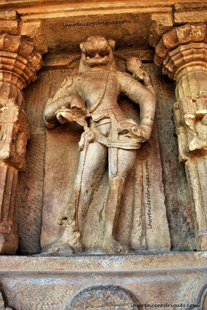 Narasimhavatara installed in a devakoshta of the Durga Temple located in Aihole, Karnataka, India