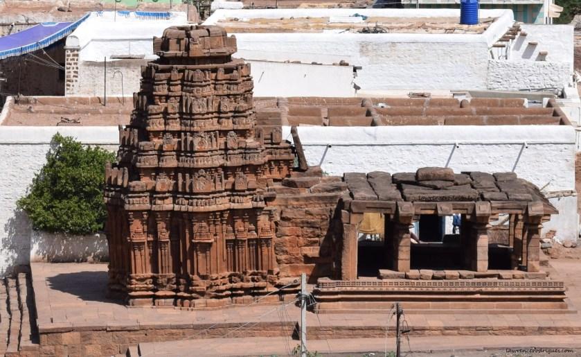 Yellamma Temple on the west side of the Agastya Lake in Badami, Karnataka, India