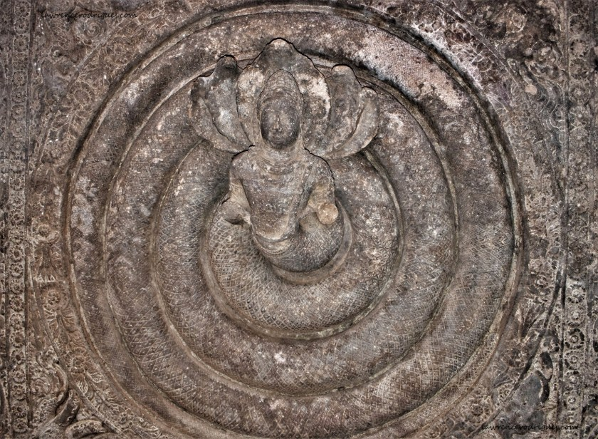 Coiled Nagaraja on the ceiling of Cave -1 located at Badami in Karnataka, India
