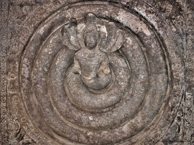 Coiled Nagaraja carved on the ceiling of Cave -1 located at Badami in Karnataka, India