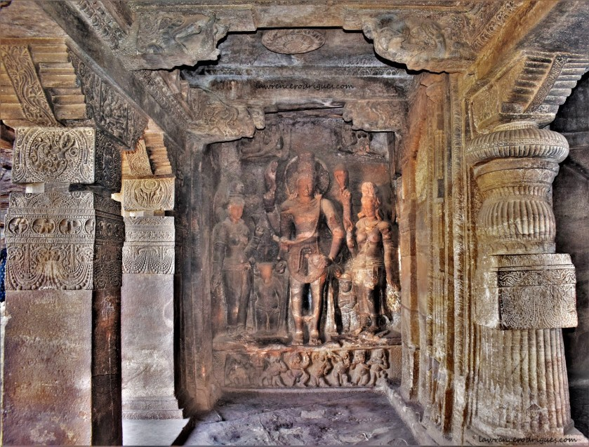 Sculptural relief depicting fusion of Shiva and Vishnu as Harihara carved into the left side wall of the mukhamantapa in Cave - 1 located at Badami, Karnataka, India