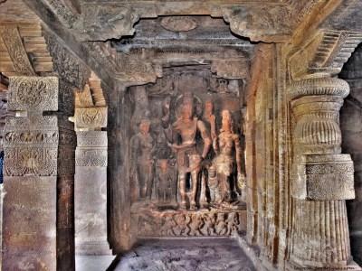 Sculptural relief depicting fusion of Shiva and Vishnu as Harihara carved on the left side wall of the mukha mantapa in Cave - 1 located at Badami, Karnataka, India