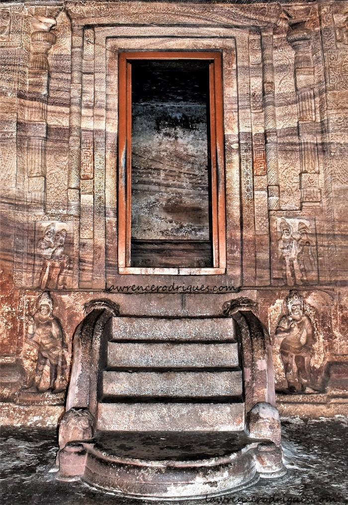 Entrance to the garbhagriha of Cave -3, the third of the rock-cut temples of Badami in Karnataka, India