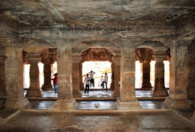 Sabhamantapa - A view from the garbhagriha  of Cave -3, the third of the rock-cut temples of Badami in Karnataka, India