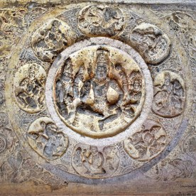 A bas-relief depicting Vishnu carved into the ceiling of the mukhamantapa (verandah) in Cave - 3 of the Badami Caves in Karnataka, India