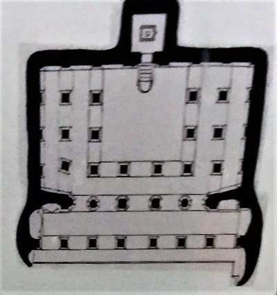 Ground Plan of Cave - 3, the third of the four rock-cut caves located near Badami in Karnataka, India