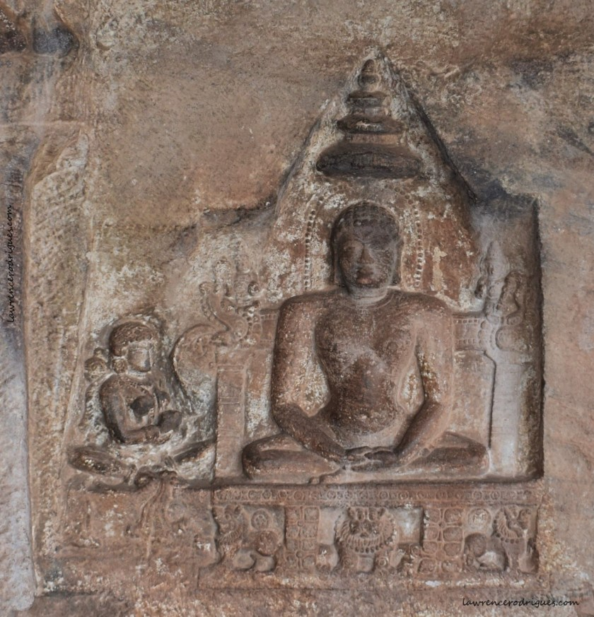 Sculptural relief of Lady Jakkavé with Mahavira carved near the entrance of Cave - 4, the fourth of the rock-cut caves located in Badami, Karnataka, India