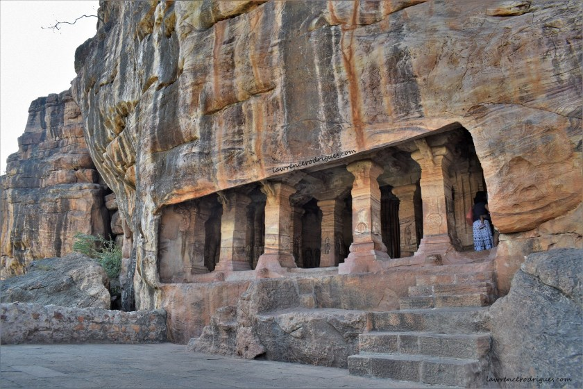 Facade and Entrance of Badami Cave - 4, the fourth of the rock-cut caves located in Badami, Karnataka, India