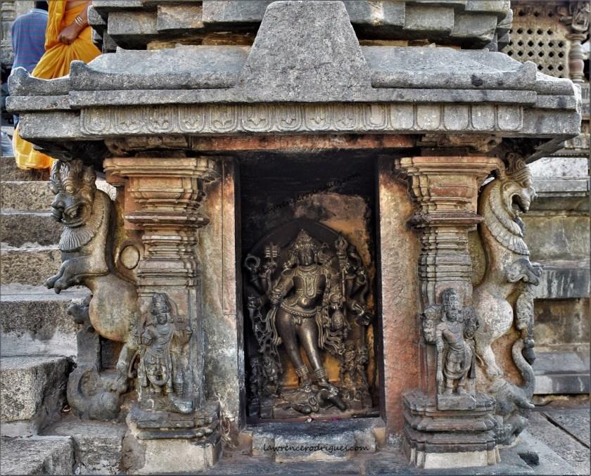Bhairava inside a mini shrine at the main entrance of the Chennakeshava Temple in Belur, Karnataka, India