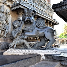 Hoysala emblem on the right-side of the main entrance of the Chennakeshava Temple in Belur, Karnataka, India