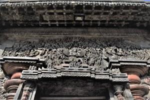 Relief of Garuda and Narasimha on the pediment of the main entrance to the Belur Chennakeshava Temple, Karnataka, India