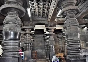 Pillars on the northwest side of Navaranga in the Belur Chennakeshava Temple, Karnataka, India
