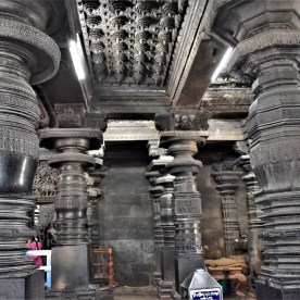 Pillars on the northwest side of the navaranga in the Belur Chennakeshava Temple, Karnataka, India