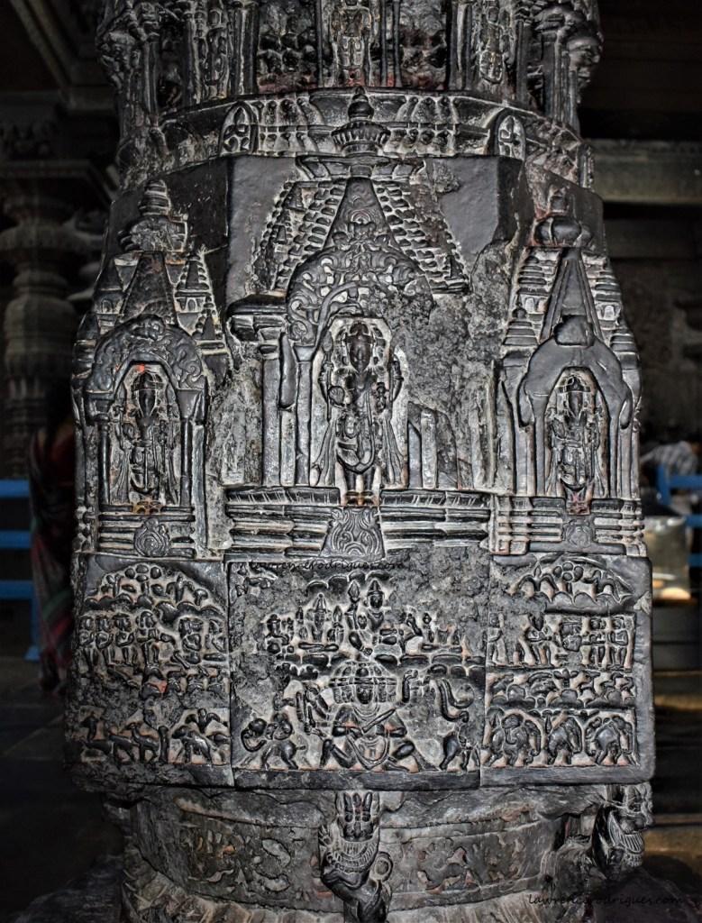 Narasimha Pillar inside Navaranga of the Chennakeshava Temple in Belur, Karnataka, India