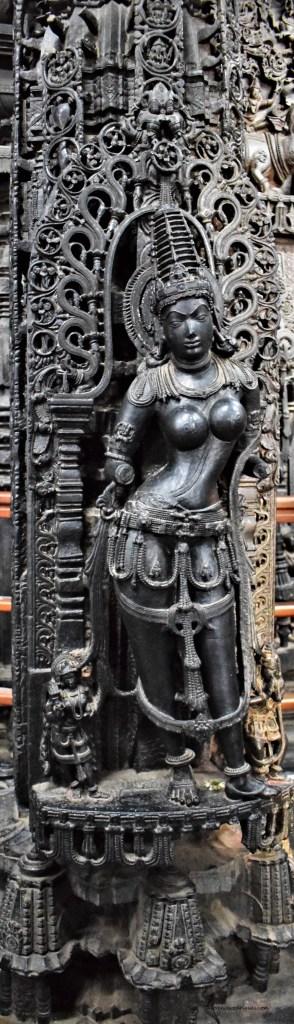 Mohini Pillar - Mohini carved into a pillar inside Navaranga