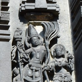 Manmatha and Rathi carved on the north-side exterior wall of the Belur Chennakeshava Temple in Karnataka, India