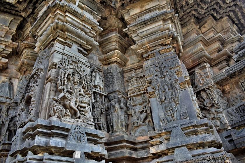 Brahma, Varaha, and Narasimha on the south outer wall surrounding girbagriha in Belur Chennakeshava Temple, Karnataka, India
