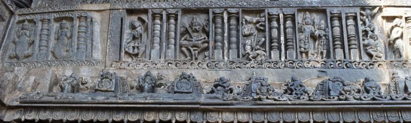 Avatars of Vishnu carved on the exterior wall of the Belur Chennakeshava Temple in Karnataka, India