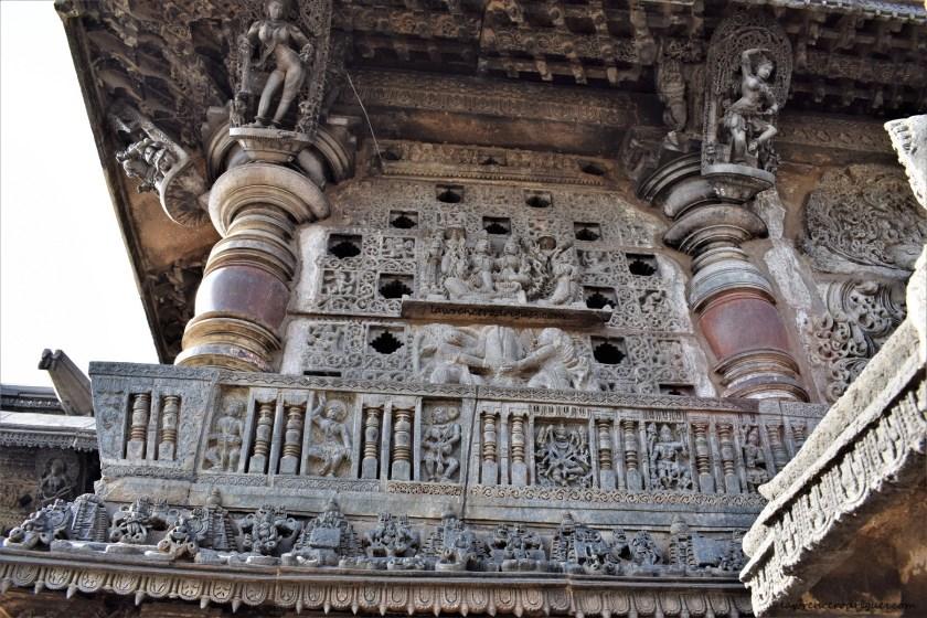 Jalandhra and bracket figures on the left section of northern entrance of the Belur Chennakeshava Temple in Karnataka, India