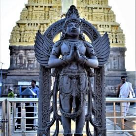 Garuda Stamba in front of the Belur Chennakeshava Temple in Karnataka, India