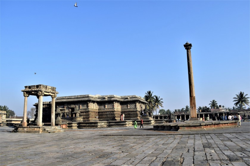 Belur Chennkeshava Temple with the Uyyale Mantapa and Gravity Pillar as seen from the southeast side of the temple complex
