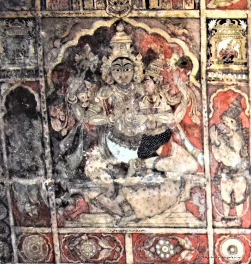 Shiva painted on the ceiling of the Virupaksha Temple in Hampi, Karnataka, India
