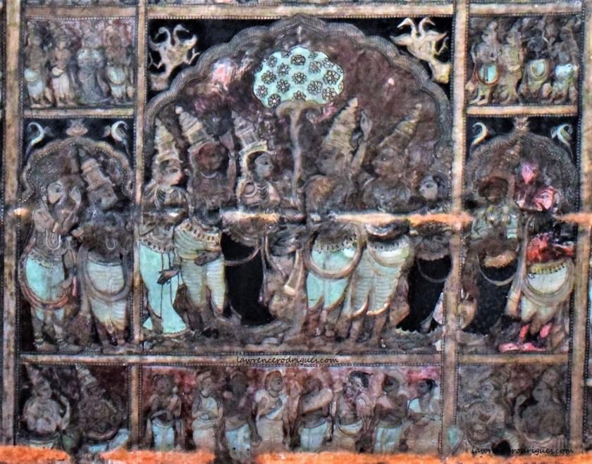 Wedding of Rama and Sita painted on the ceiling of the Virupaksha Temple in Hampi, Karnataka, India