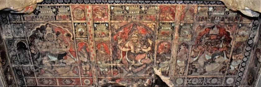 Vishnu, Shiva, and Brahma painted on the ceiling of the Virupaksha Temple in Hampi, Karnataka, India