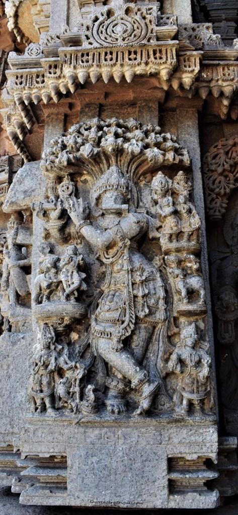 Venugopala - A form of Krishna carved on the outer wall of the Somanathapura Keshava Temple in Karnataka, India