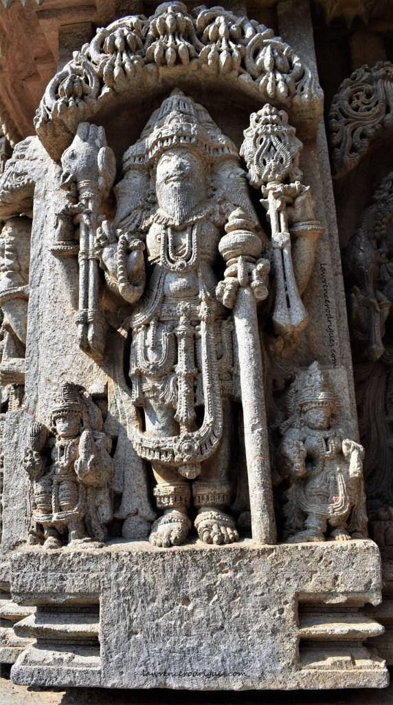 Brahma carved on the outer wall of Somanathapura Keshava Temple in Karnataka, India