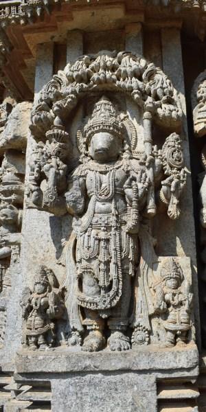 Matsyavatara -The first avatar of Vishnu carved on the outer walls of the Somanathapura Keshava Temple in Karnataka, India