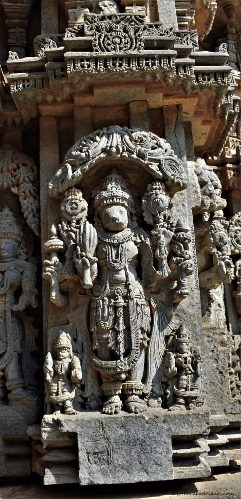 Varahavatara, the third avatar of Vishnu carved on the outer walls of the Somanathapura Keshava Temple in Karnataka, India