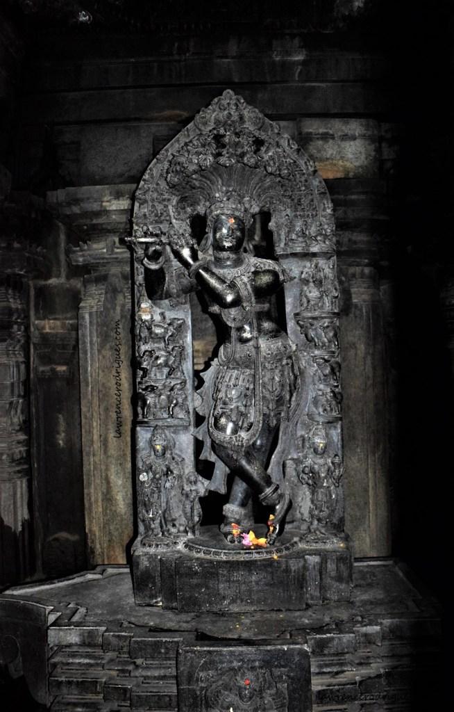 Venugopala - Sculpture of Krishna playing the flute standing inside the south garbhagriha of the Somanathapura Keshava Temple in Karnataka, India