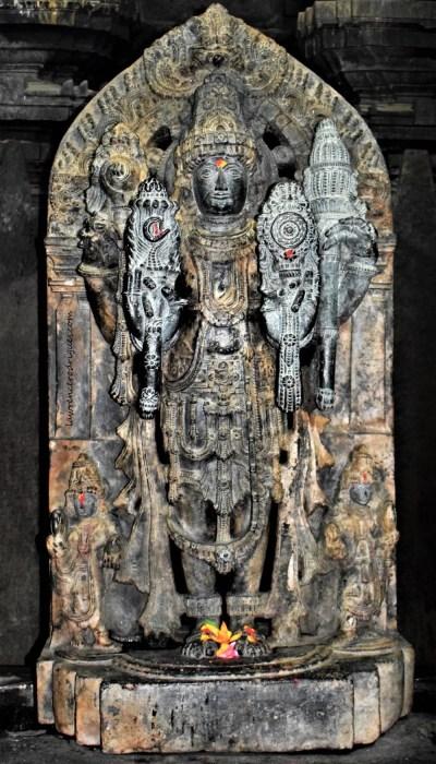 Keshava - Sculpture of Vishnu standing inside the west garbhagriha of the Somanathapura Keshava Temple in Karnataka, India