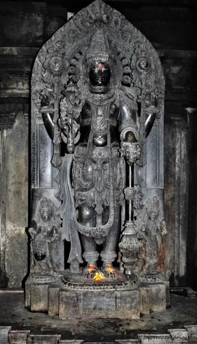Janardhana - Sculpture of Vishnu standing inside the north garbhagriha of the Somanathapura Keshava Temple in Karnataka, India