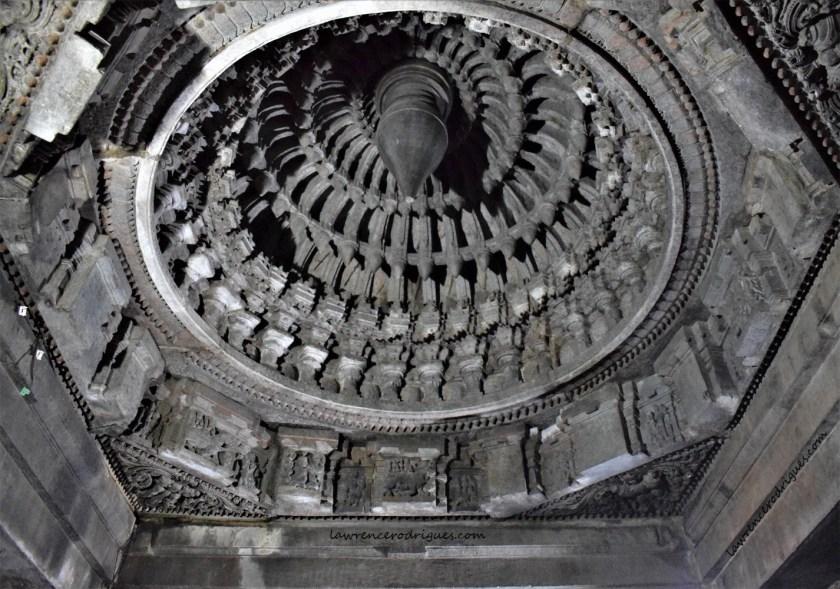 A beautifully decorated ceiling of the Somanathapura Keshava Temple in Karnataka, India