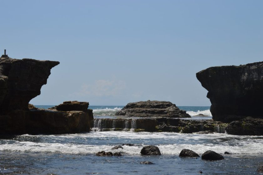 Rock formations near the Tanah Lot Temple in Bali, Indonesia