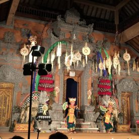 A scene from the Balinese dance drama performed by the Raja Peni Troupe in Ubud, Bali