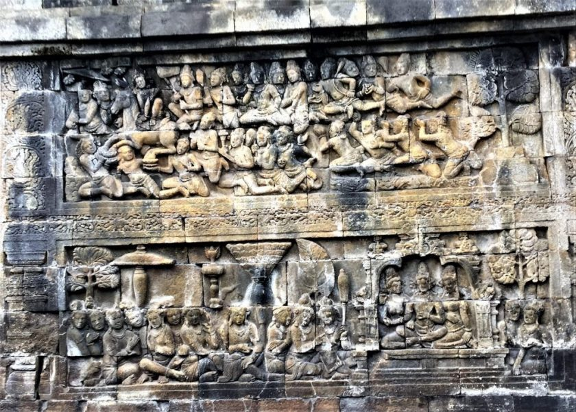 Bas-relief on the Rupadhatu layer depicting a scene from the life of Buddha
