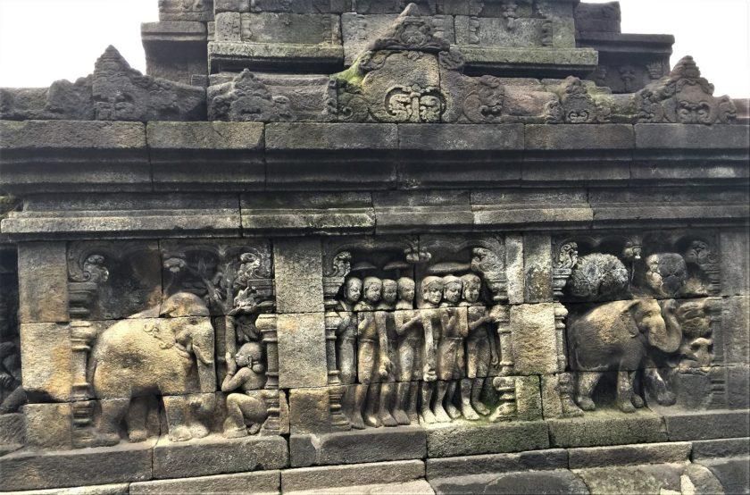 Bas-relief of a Jataka tale portraying Buddha as an elephant