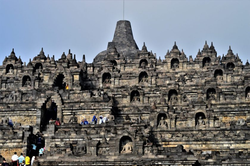 A view of the Borobudur Temple from the courtyard