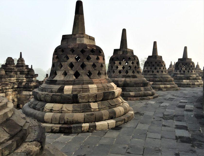 Stupas on the top terrace of the Arupadhatu layer of the Borobudur Temple in Yogyakarta, Indonesia