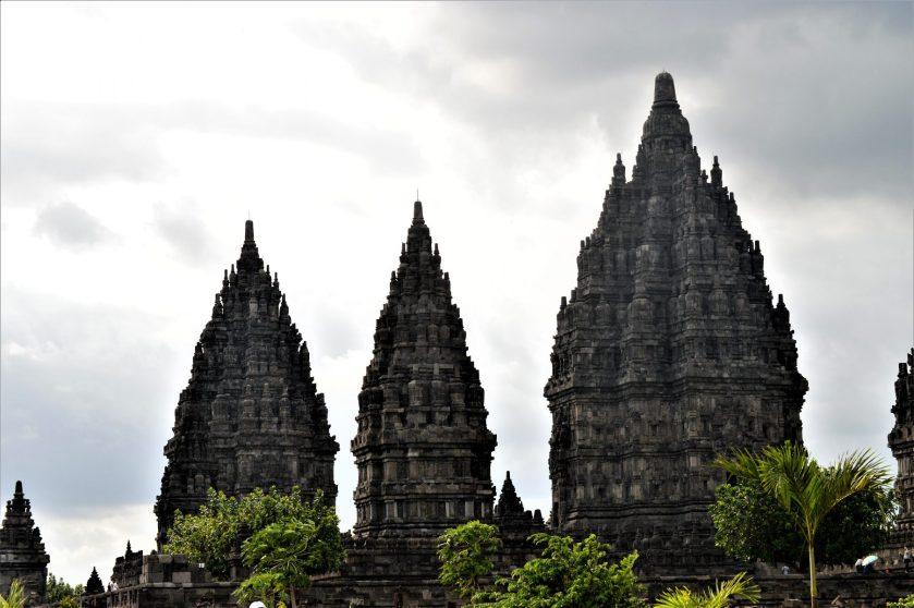 Shiva, Vishnu, and Brahma Temples in Prambanan, Yogyakarta, Indonesia
