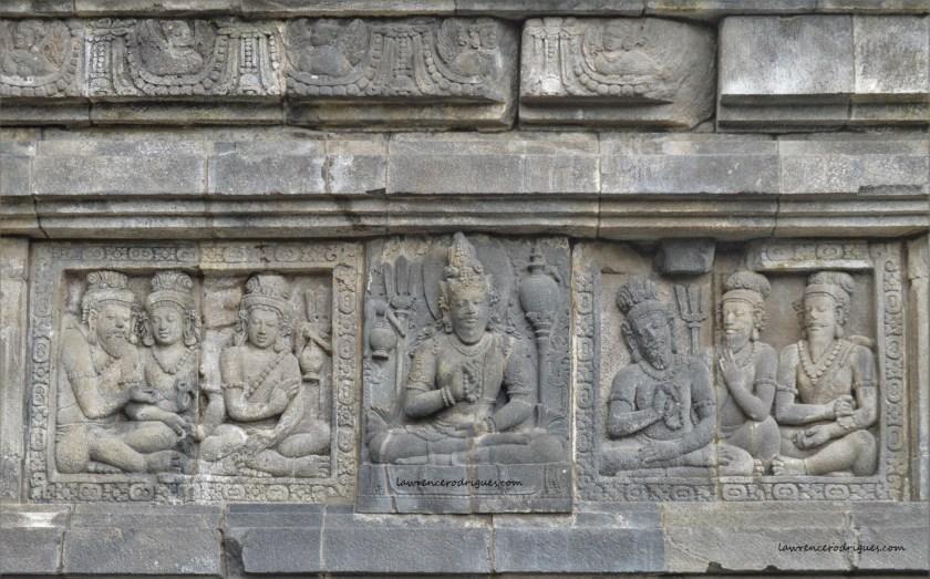Bas-relief depicting Saptarishis carved in the Shiva Temple located in Prambanan, Yoogyakarta, Indonesia