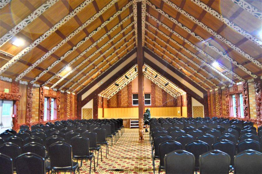 Carved Meeting House (Te Aronui-a-Rua) in Te Puia, Roturoa, New Zealand